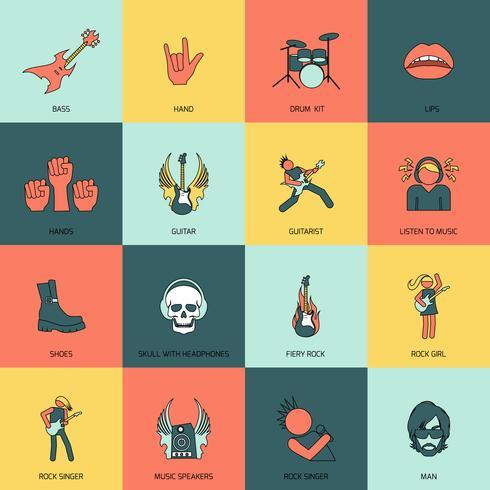 ligne plate des icônes de la musique rock vecteur