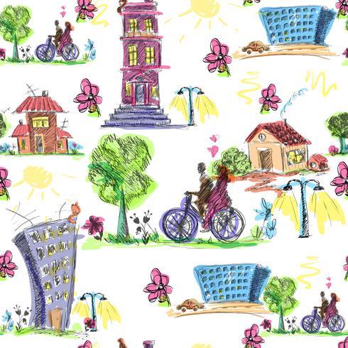 Doodle City färgat sömlöst mönster