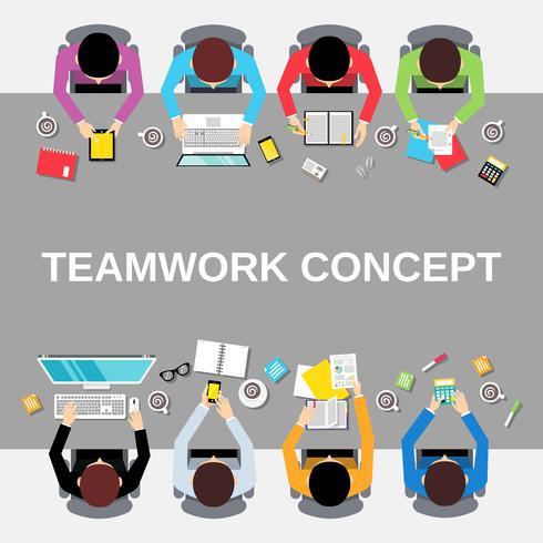 Vista superior de la gente de trabajo en equipo