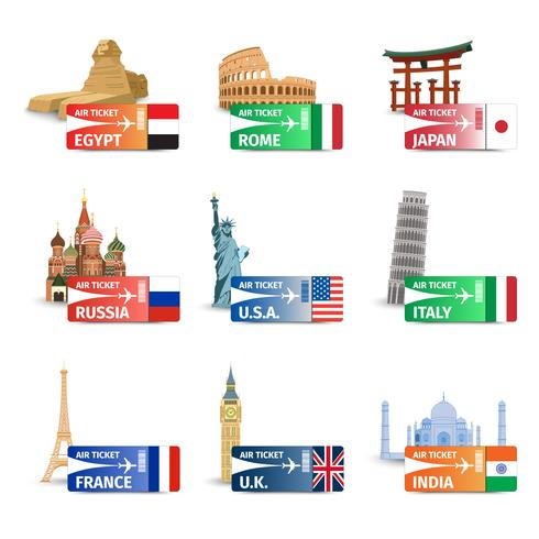 World landmarks ticket set vector
