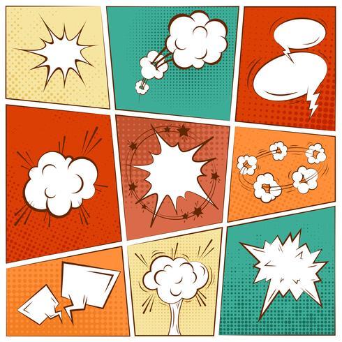 Burbuja de texto cómico en blanco. vector