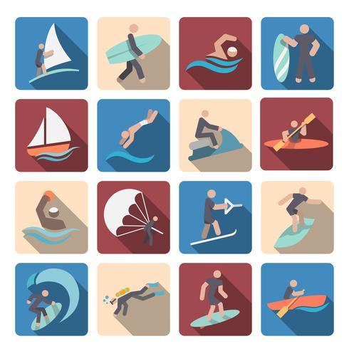 Vattensporter ikoner som färgade vektor