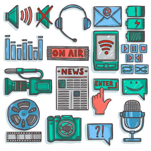 Los iconos de boceto de medios establecen color