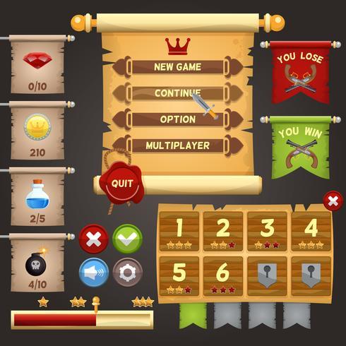 Design da interface do jogo vetor