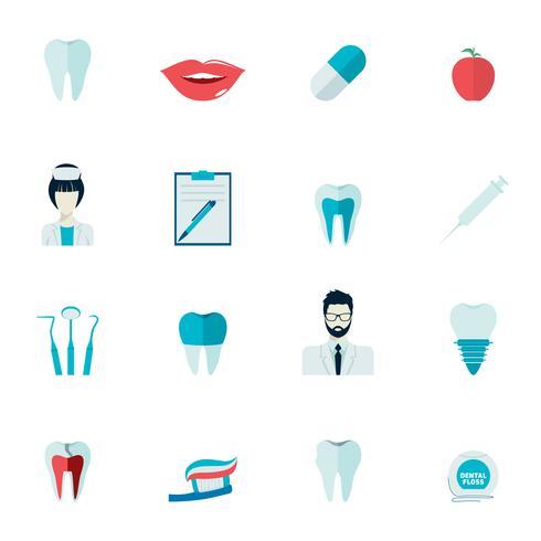 Iconos de dientes planos