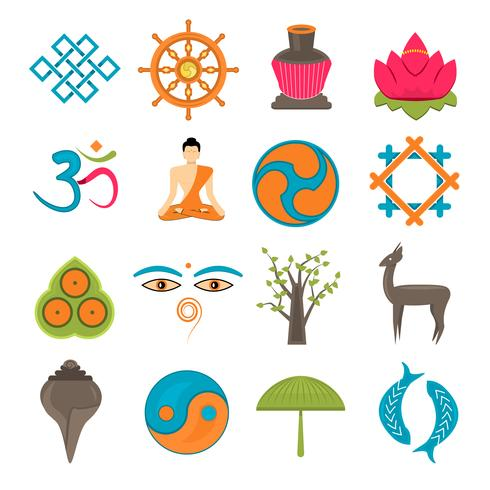 Buddhism icons set vector