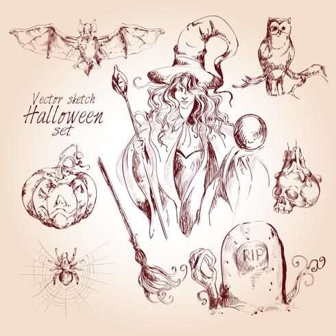 Halloween sketch set vector