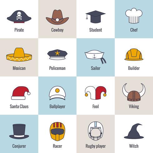 Línea plana del sombrero de los iconos