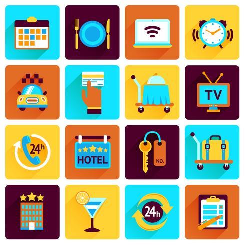 Conjunto plana de iconos de hotel vector