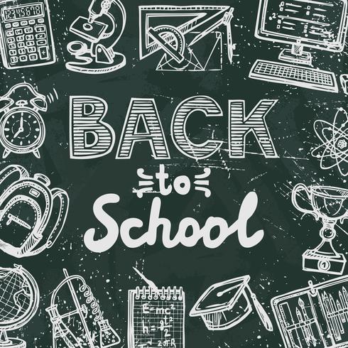 Cartel de pizarra de regreso a la escuela