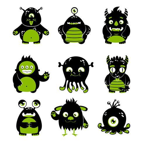 Conjunto de monstruos lindos