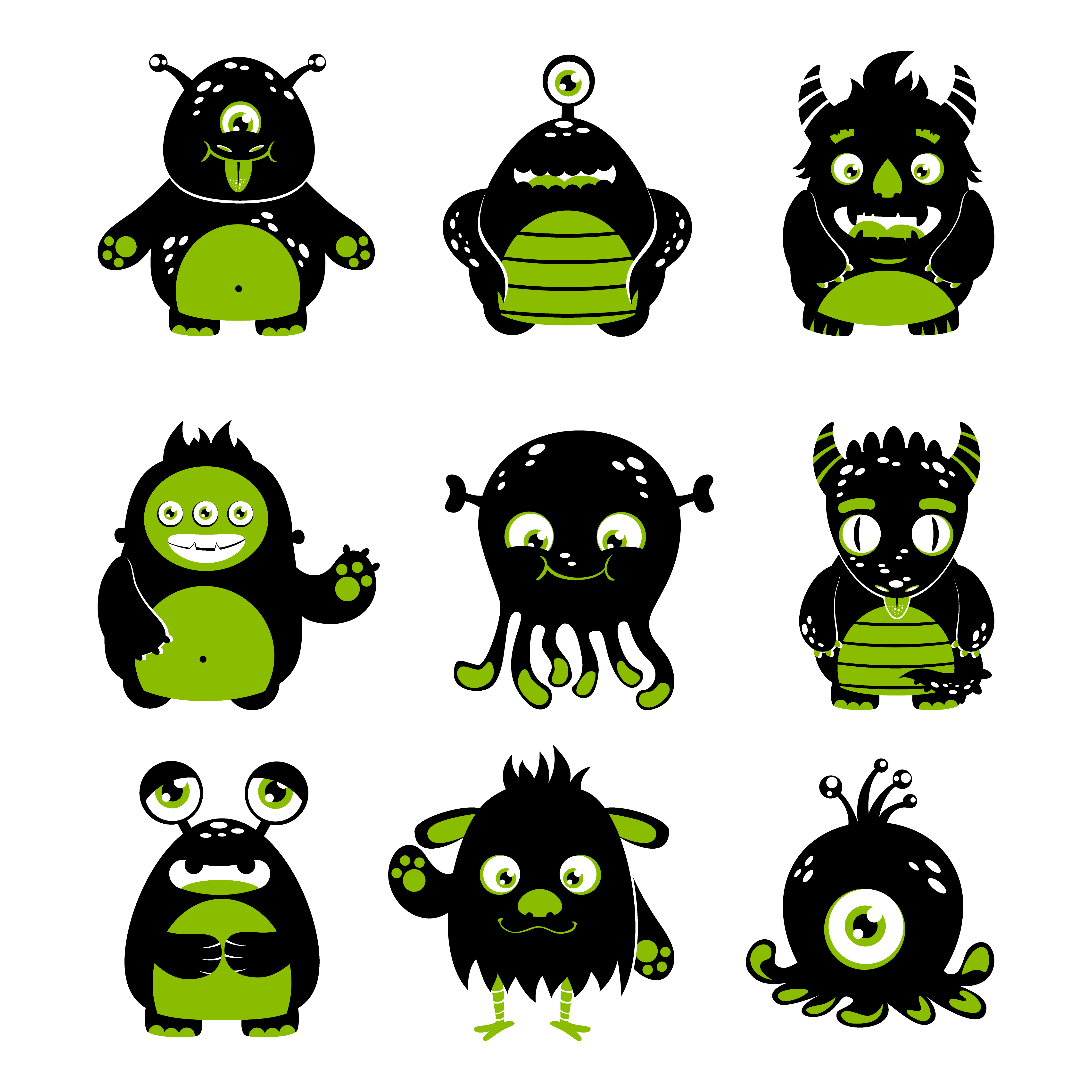 cute monsters vector cartoon funny alien illustration monster cat character premium clipart isolated silhouettes icons eyes tea graphics vectors fotosearch