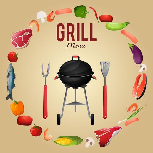 Cartaz de menu de churrasco