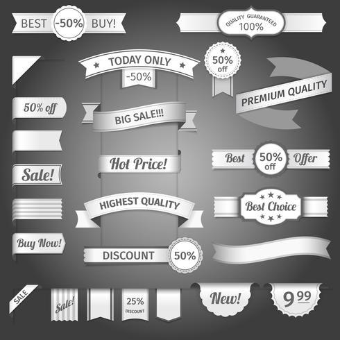 Conjunto de papel de la cinta retro de descuento vector