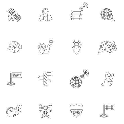 Contorno de ícones de navegação móvel