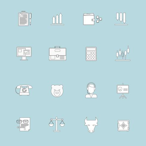 Linea piatta icone di scambio di finanze vettore