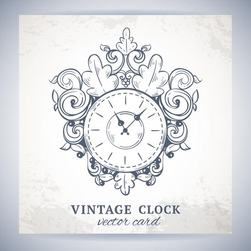 Postal vieja del reloj de pared del vintage