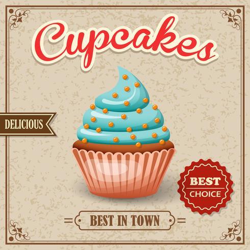 Cupcake cafe affisch vektor