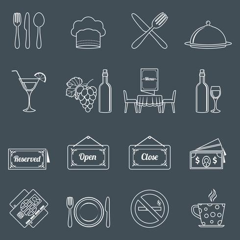 Conjunto de iconos de restaurante contorno