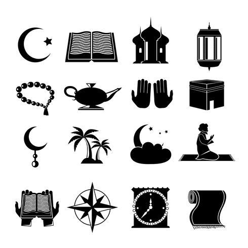 Conjunto de iconos del Islam negro vector