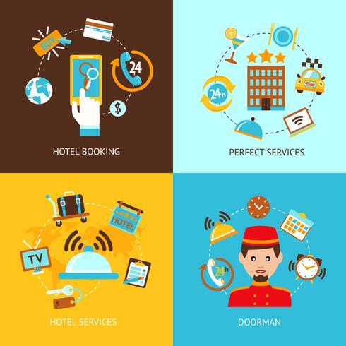 Conjunto plana de iconos de hotel