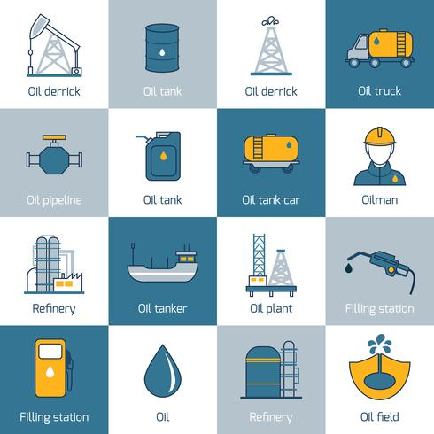 Oil Icons Flat Line vector