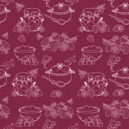 Strawberry jam seamless pattern