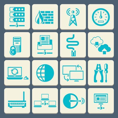 Netzwerk-Icons Set flache Taste