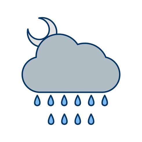 Noche, lluvia, vector, icono