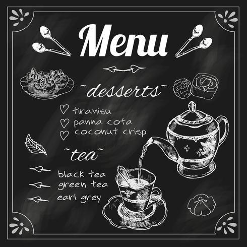 Menu Tableau Théière et tasse de thé vecteur