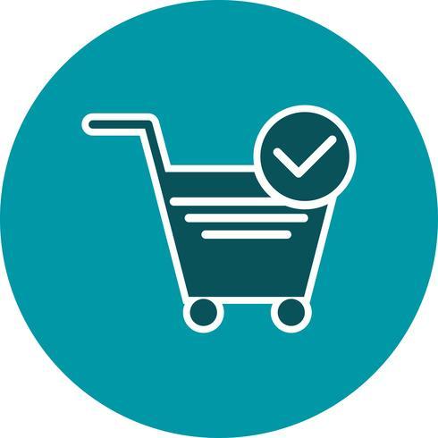 vector geverifieerd winkelwagen items pictogram