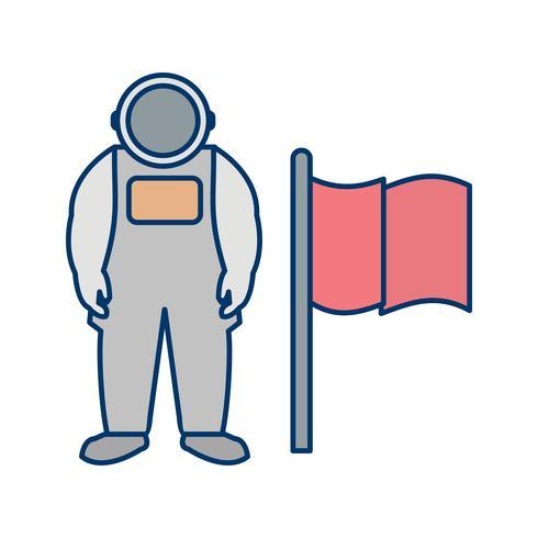 Man Med Flagg Vektor Ikon
