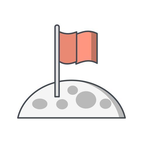 Icono de Vector de bandera en la luna