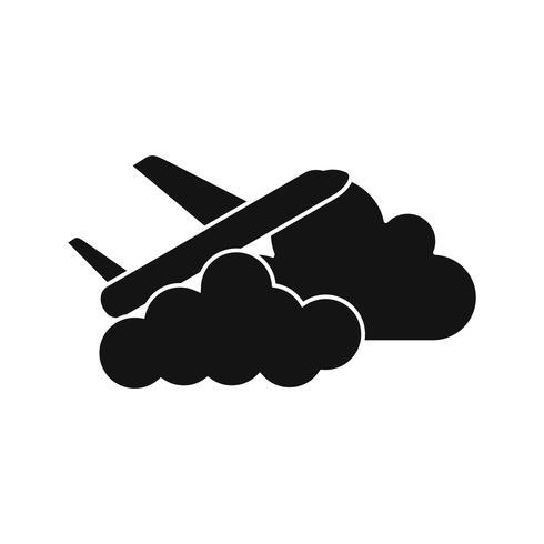 Ícone de vetor de nuvem de avião