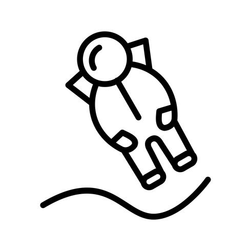 Astronout Landing Vector Icon