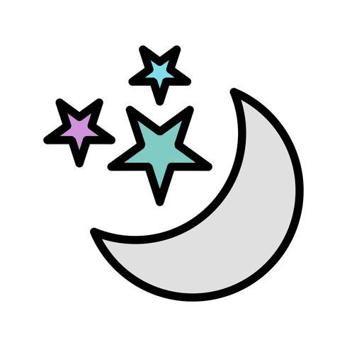 Månen Och Stjärnor Vektor Ikon