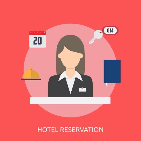 Reserva Hotelera Conceptual Ilustración Diseño vector