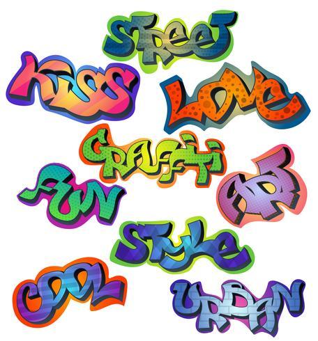 Graffiti ord uppsättning vektor