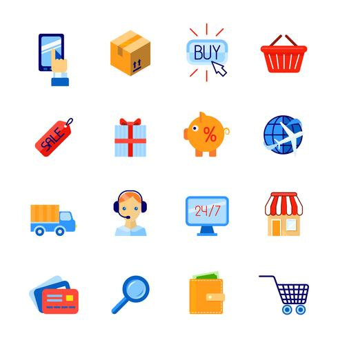 Shopping e-commerce icons set flat