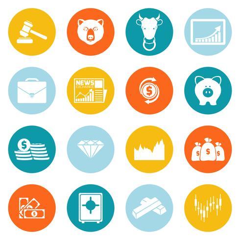 Finanza scambio icone rotonde