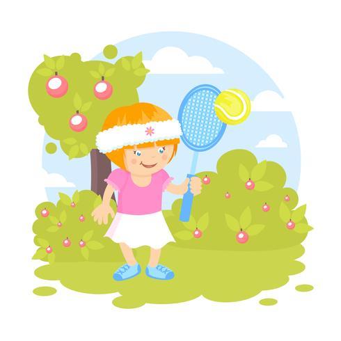 Niña jugando al tenis vector