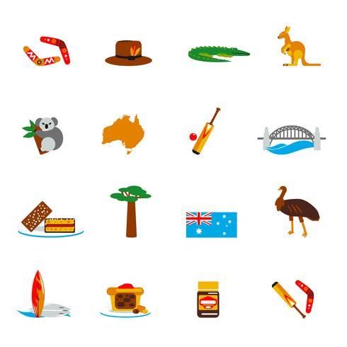 Australië pictogrammen instellen plat vector