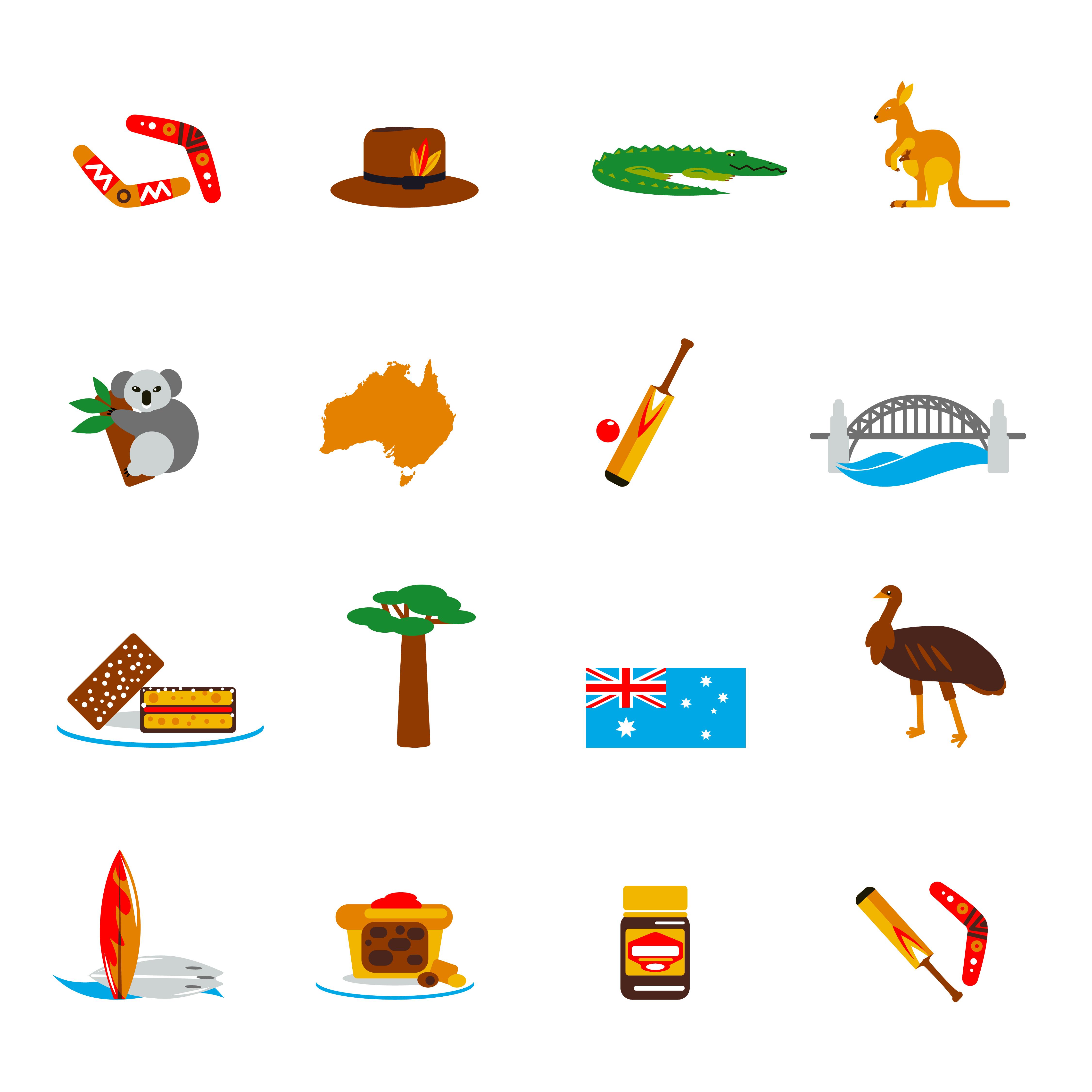 Australia Icons Set Flat 442476