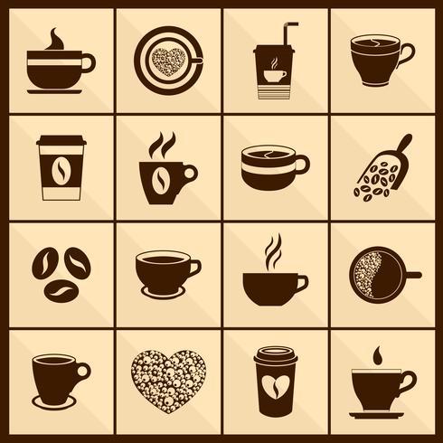 Iconos de la taza de café negros