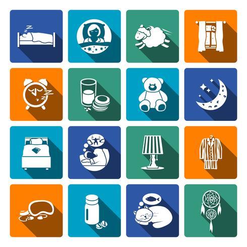 Slaap tijd pictogrammen plat vector