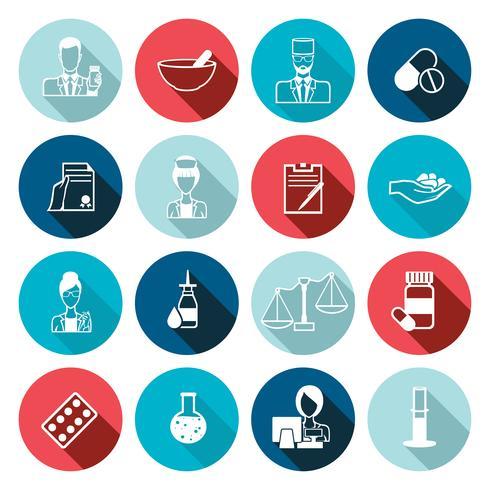Conjunto de contorno de ícone de farmacêutico vetor