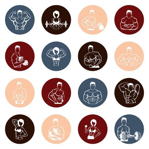 Bodybuilding icons round vector