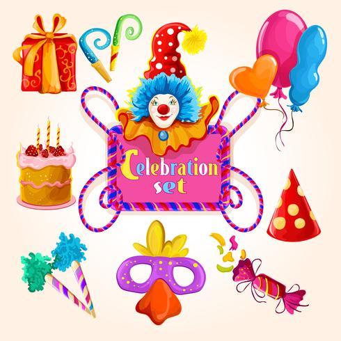 Celebration set colored vector