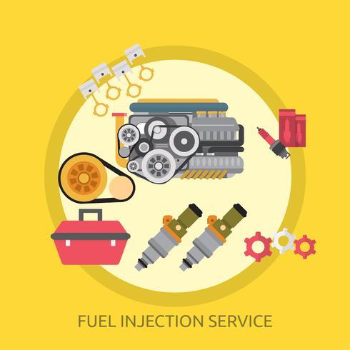 Serviço de injeção de combustível ilustração conceitual Design vetor