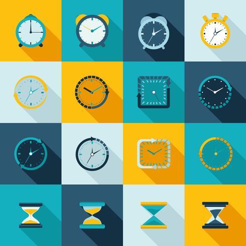 Clock icon flat set vector